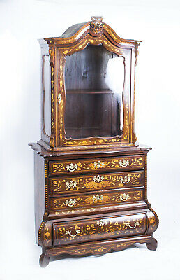 Antique Dutch Marquetry Walnut Cabinet on Chest c.1780