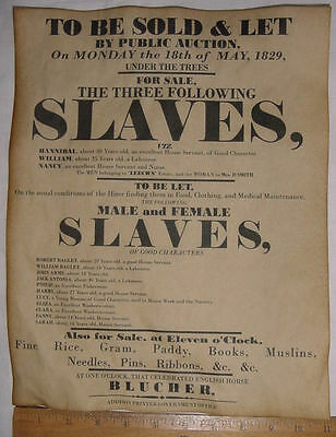 11x14 Slave Auction Poster, 1829 repro, slavery, wanted