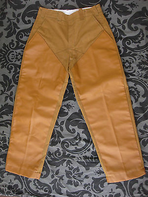 NOS VTG LL BEAN Leather Canvas Pants 28 x 27 Deadstock Hunt Wood Outdoor work