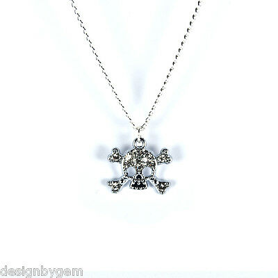 Skull necklace diamante silver plated chain birthday gift friends family gothic