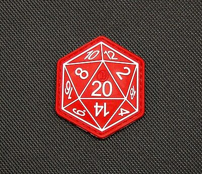 Dungeons And Dragons Die D20 3D PVC Morale Patch Hook Backing D&D VELCRO® Brand