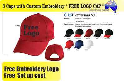 3 Custom Embroidered Caps Hats * FREE LOGO Embroidery * Racing CAP Sports * 335