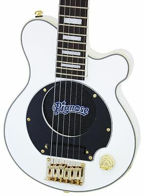 NEW Pignose WHITE/GOLD Deluxe  Mini Electric Guitar with Built-In Amp, Amplifier