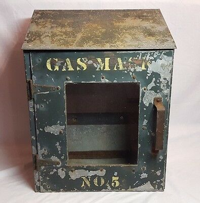 Old Vintage Metal Steel Steampunk Industrial Military Ww1 Ww2 Gas Mask Cabinet !
