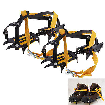 10 Teeth Ice Snow Boot Shoes Anti Slip Spike Grips Crampons Grippers Climbing
