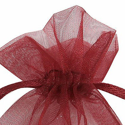 100 Organza Bags Wedding Favour Bags Candy Pouches(Wine Red) H1