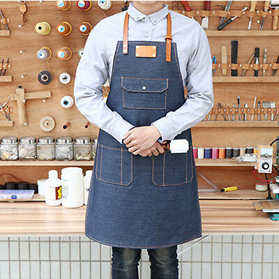 Unisex Denim Bib Apron w/ Leather Straps Barista Gardener Barber Work Uniforms