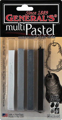 MultiPastel Compressed Chalk Sticks 4/Pkg Gray Tones 9408ABP