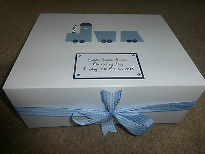 Large Personalised New Baby Christening Memory Boy girl Keepsake Box train **