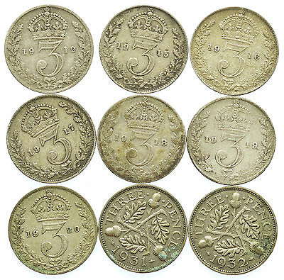Great Britain, George V Threepence Set, Silver, 9 Coins, 1912-1932