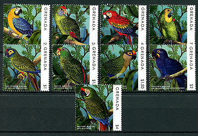 Grenada 2013 MNH Parrots Definitives 9v Set Birds Scarlet Macaw Conures Stamps