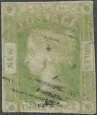 NSW 1851 Laureate 3d Yellow-Green on Grey-Blue paper imperforate sg67 cv£110 fu