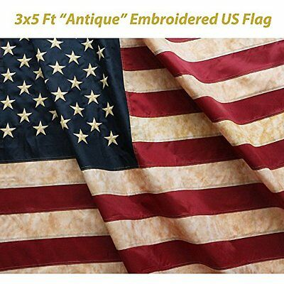 ANLEY® [Vintage Style] Tea Stained American US Flag 3x5 Foot Nylon - Embroide...