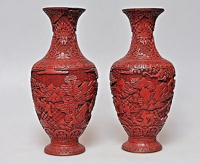 Pair Antique China Qing Dynasty Chinese Lacquered Vase Red Cinnabar Carved 1900