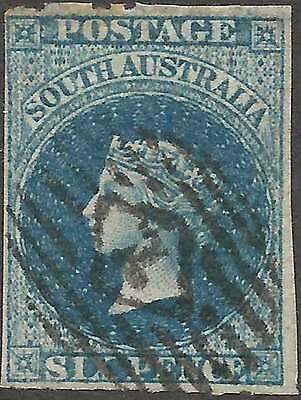 SOUTH AUSTRALIA 1860-69 6d Indigo Rouletted perf sg34 cv£65 attractive fine used