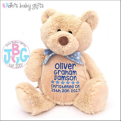 Personalised Baby Teddy Bear Gift,Embroidered Keepsake, Christening/Wedding Gift