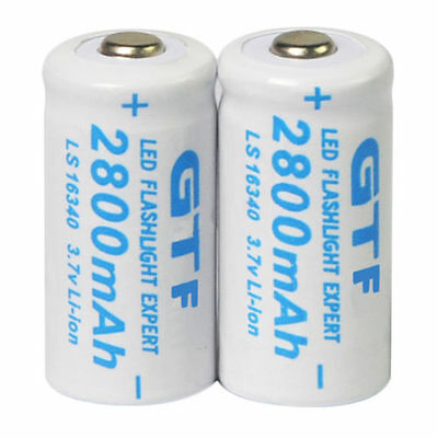1/2 x 2800mAh 3.7V 16340 CR123A 123A Rechargeable Battery Flashlight Torch  - UK