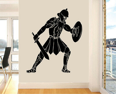 Roman Gladiator Silhouette Wall Art Stickers Greek Ancient Transfer Mural Decals