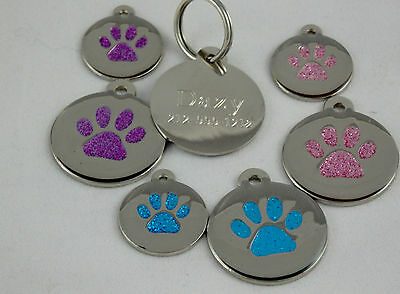 Glitter Paw  pet ID Tags, Dog/cat personalize custom engraving Aluminum  enamel