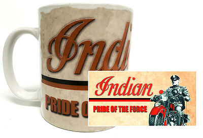 Pride Of the Force Indian Motorcycle Ceramic Coffee Mug