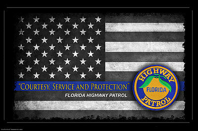 Florida Highway Patrol Thin Blue Line Flag Two 11x17 Poster