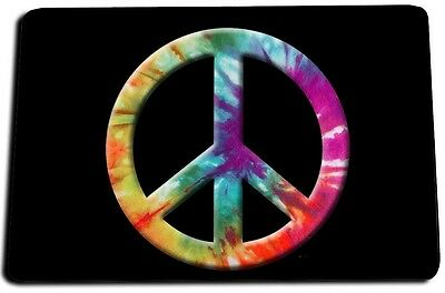 Psychedelic Tied Died Multi Color Peace Sign Door Mat Rug