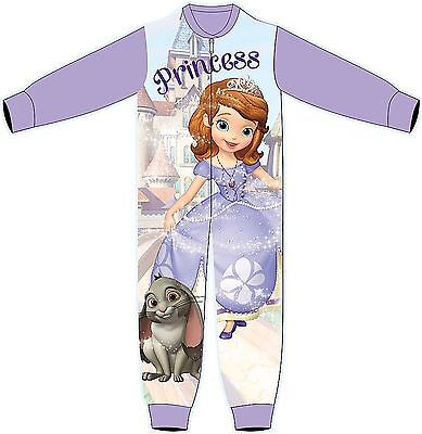 Girls Sofia The First Princess All In One Fleece Pyjamas Pj Sleepsuit New