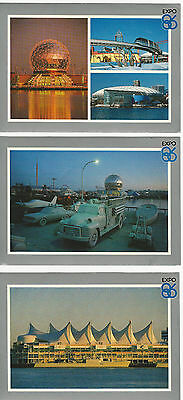 Expo 86 Vancouver Canada Postcards 1986 vintageSet of 3 Lot