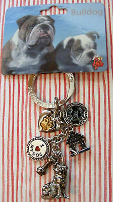 "Little Gifts ""bulldog""  Key Chain With 6 Charms For The Puppy Dog Lover"