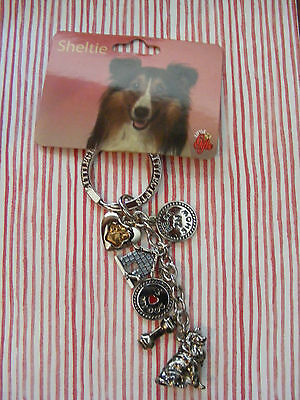 "Little Gifts ""sheltie"" - ""shetland Sheepdog"" Key Chain With 6 Charms Puppy Dog"