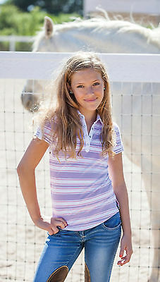 Goode Rider Girls Heritage Polo Shirt-Lilac Stripe-8