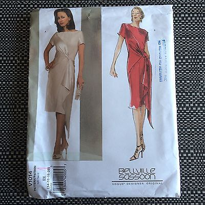 Vogue 1014 Faux Wrap Dress Sewing Pattern Bellville Sassoon Uncut Sz 14-20 Bias