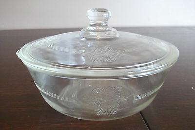 "Vintage Mckee Glasbake Shield Poppy Casserole Dish Etched Glass 7"" Tab Handle"