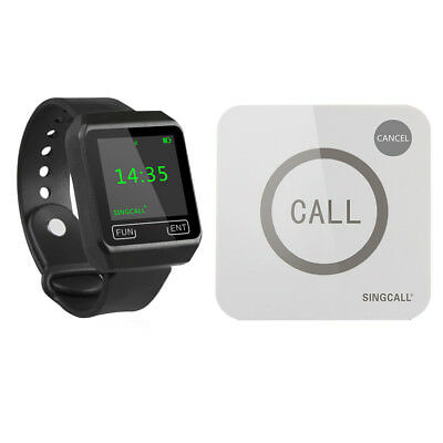 SINGCALL Wireless Restaurant Calling System 1 Big Screen Watch, 1 Touch Pager