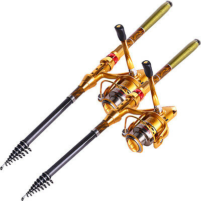 Gold Telescopic Fishing Rod and Reel Saltwater Spinning Fishing Combos (1set)