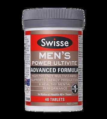 Swisse Mens Power Ultivite Multivitamins Energy Mental Health Support 40 Tablets