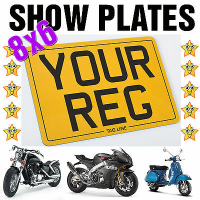 8X6 MOTORCYCLE BIKE SHOW STYLE SMALL REG NUMBER PLATE *Free Fixings *