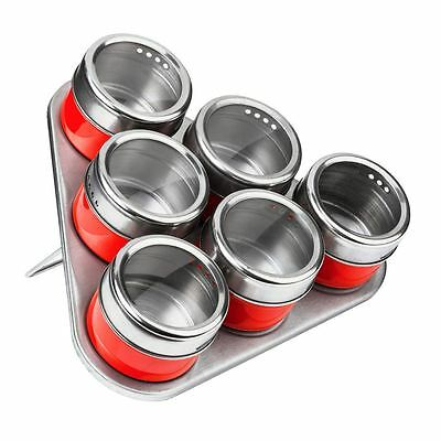 Set of 6 Spice Jars, Red/Stainless Steel, Magnetic Triangular Tray