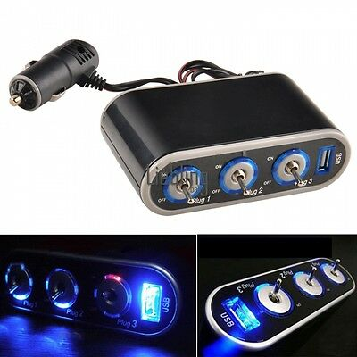y Triple Car Cigarette Lighter Socket Splitter 12V-24V+USB+LED Light Switch LEBB