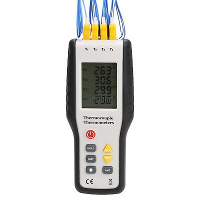 Digital Thermometer -200~1372°C/2501°F K-Type Thermocouple 4-Channel w/ Bag