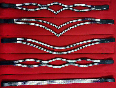 BLING! Diamante*TOP QUALITY LEATHER SPARKLY BROWBAND* SILVER CRYSTALS FULL & COB
