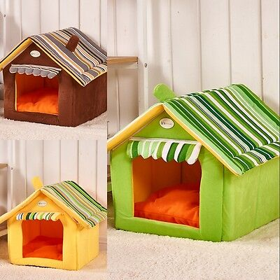 New Striped Washable Plush Soft Dog Cat Puppy Bed Home Kennel Inside House Pets