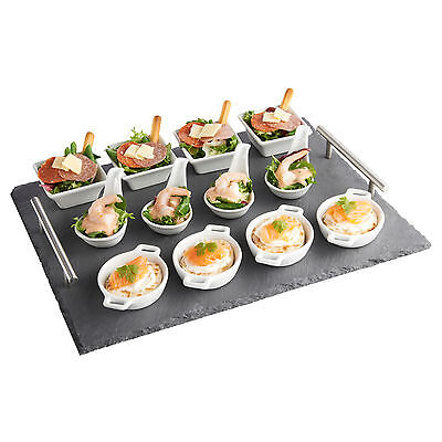 VonShef 13 Piece Tapas Canape Slate Serving Tray with Dish Set for Dining Buffet