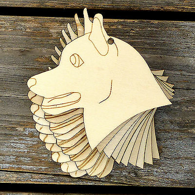 10x Wooden Grayhound Dogs Head Craft Shape 3mm Ply