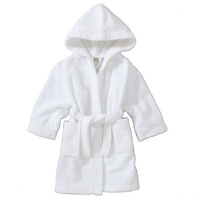 White Fluffy Soft Baby Boys Girls Dressing Gown Bath Robe 3 6 12 24 Months