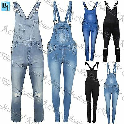 Womens Faded Denim Dungarees Ladies Slim Ripped Jumpsuit Light Black Wash Jeans