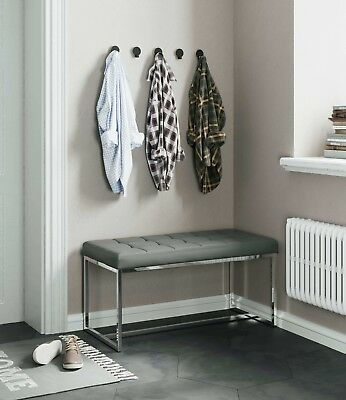 New York Modern Cushioned Leather & Chrome Dining Bench