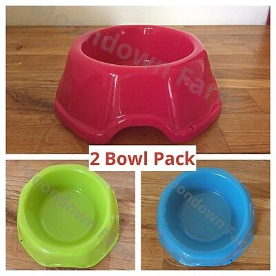 2 X Large 0.5L High Quality Pet Dog Cat Food Water Bowl / Dish Pink Blue Green