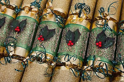 Luxury Gold And Green Holly Christmas Crackers Handmade Brand New For 2016