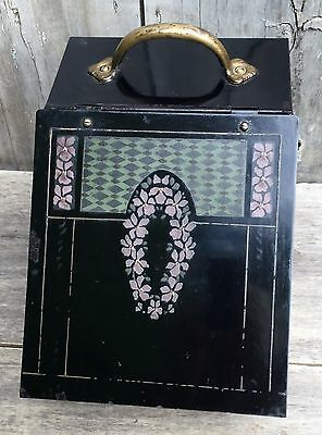 Antique Victorian Floral Tole Painted Black Metal Coal Hod Ash Scuttle Box 1910